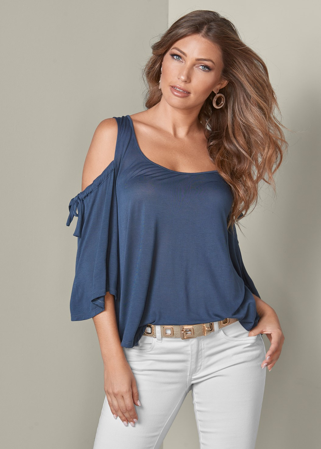 Cold Shoulder Top,Mid Rise Color Skinny Jeans