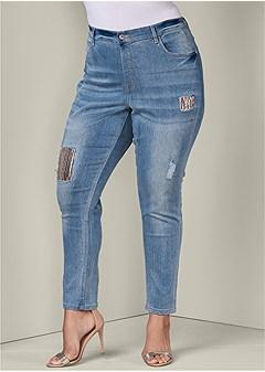 plus size sequin detail jeans