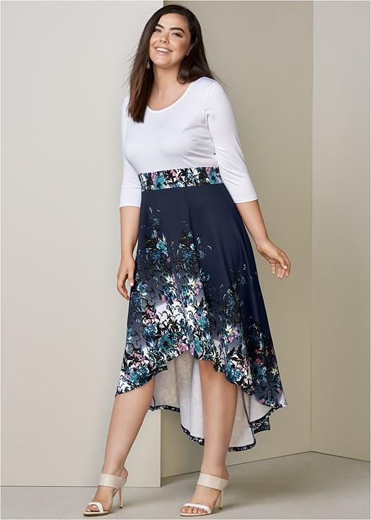 Plus Size HIGH LOW FLORAL DRESS | VENUS