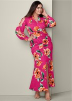 plus size ruched printed maxi dress