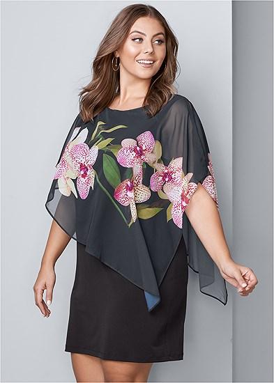 Plus Size Chiffon Detail Dress