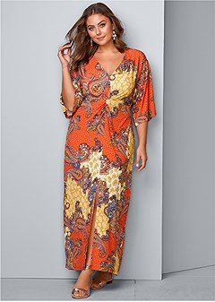 plus size boho print maxi dress