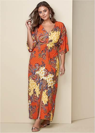 Plus Size Boho Print Maxi Dress