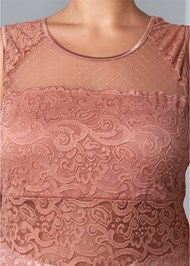 Front View Mesh Inset Lace Top