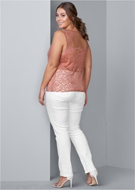 Back View Mesh Inset Lace Top