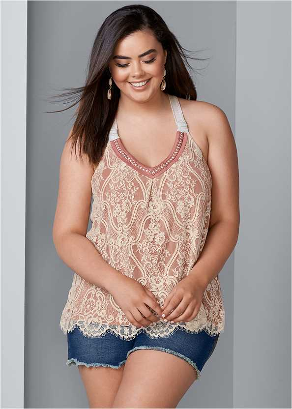Lace Front Top,Frayed Cut Off Jean Shorts,Embellished Sandals
