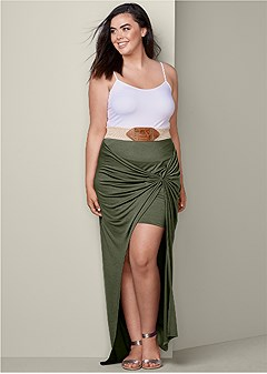 plus size belted maxi skirt