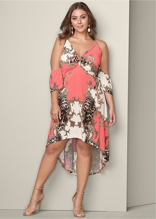 HIGH LOW PRINT DRESS,HIGH HEEL STRAPPY SANDALS