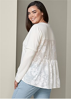 plus size lace back sweatshirt