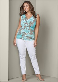 Front View Ruched Detail Print Top