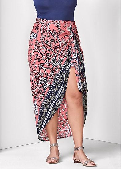 Plus Size Print Wrap Skirt