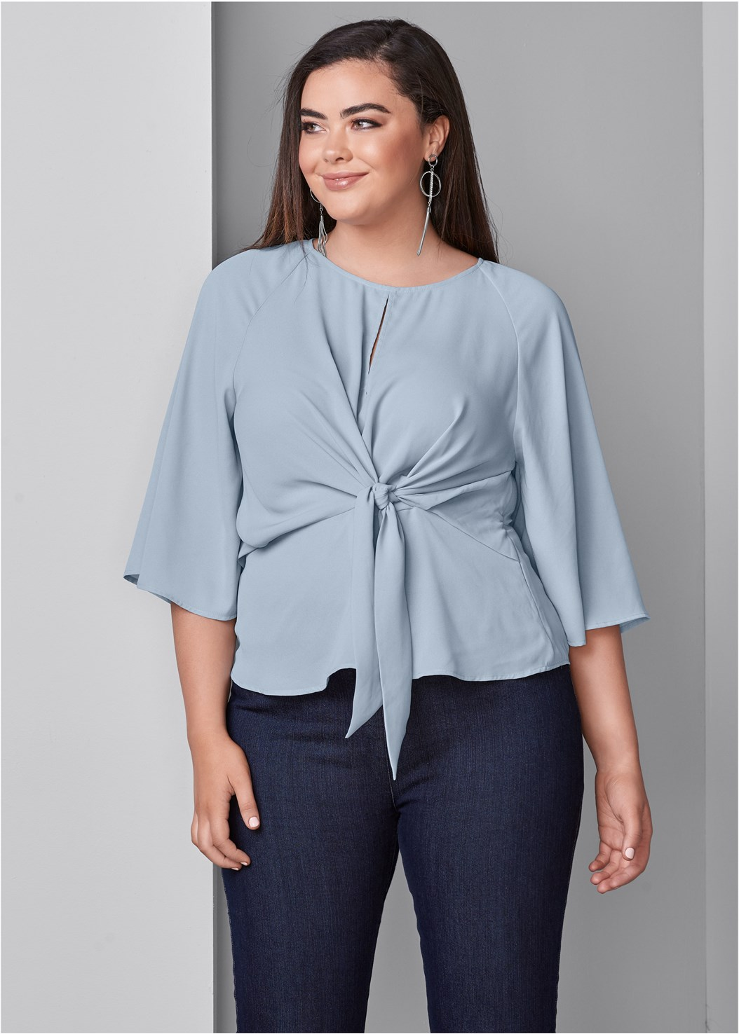 Tie Front Blouse,Mid Rise Slimming Stretch Jeggings