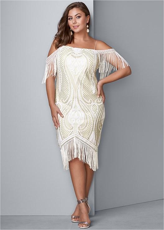 5d605261d84 Plus Size FRINGE DETAIL BODYCON DRESS