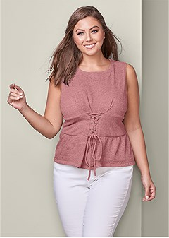 plus size corset waist lounge top
