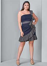 Alternate View Ruffle Detail Denim Dress