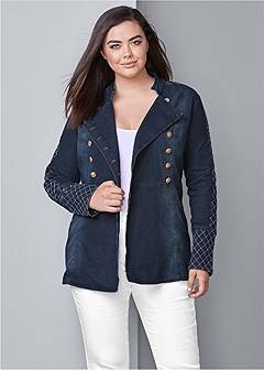 plus size button detail jean jacket
