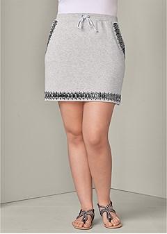 plus size jeweled lounge skirt