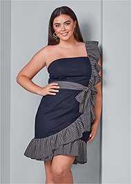 Front View Ruffle Detail Denim Dress