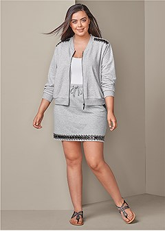plus size jeweled lounge jacket