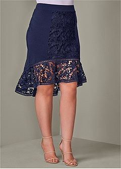 plus size lace detail midi skirt