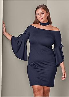 plus size choker sleeve detail dress