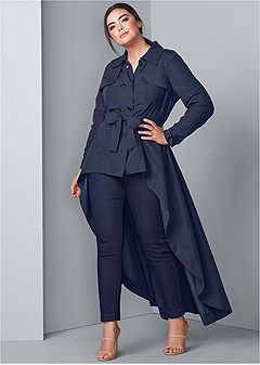 plus size high low trench coat