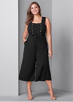 plus size lace up culotte jumpsuit
