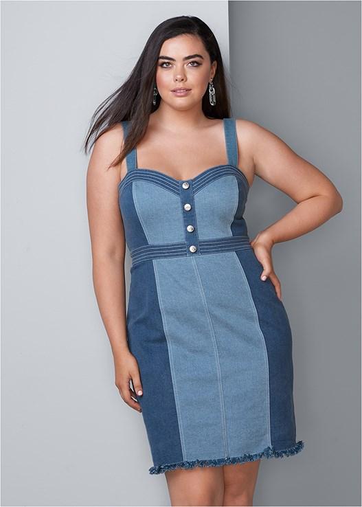 ff4715746f6 Plus Size BUTTON DETAIL DENIM DRESS