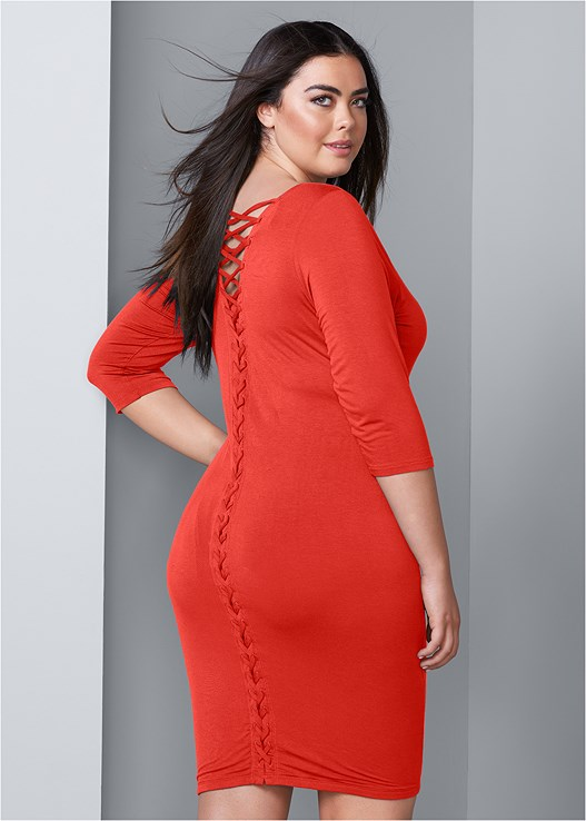 e17db9a9e75 Orange LACE UP BACK DETAIL DRESS from VENUS