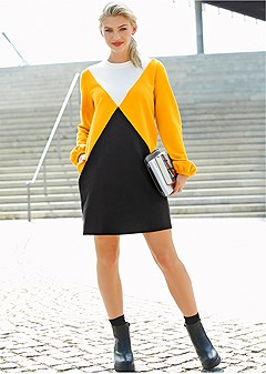 color block lounge dress