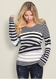 plus size striped crew neck sweater