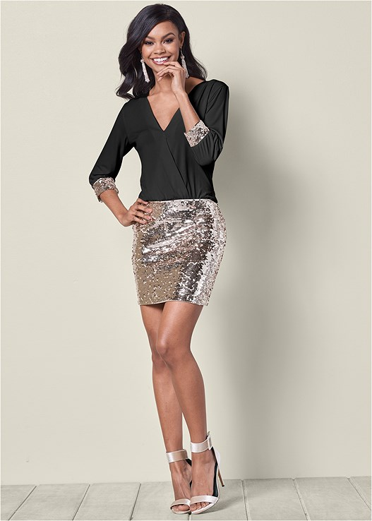 SEQUIN MINI DRESS,HIGH HEEL STRAPPY SANDAL,EVERYDAY YOU Y-BACK BRA