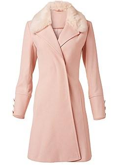 plus size faux fur collar coat