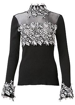 plus size floral applique sweater