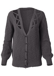 Front View Cut Out Detail Cardigan