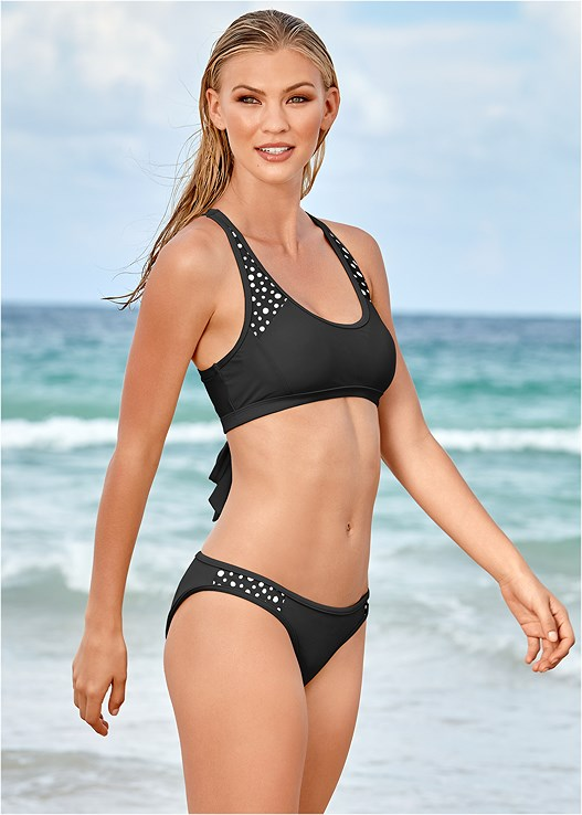 LOW RISE BOTTOM,CROSS BACK SPORT TOP,TRIANGLE BIKINI TOP,TRIANGLE BIKINI TOP,DOUBLE STRAP UNDERWIRE TOP