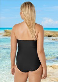 Back View Grommet Lace Up One-Piece