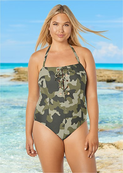 Plus Size Grommet Lace Up One-Piece