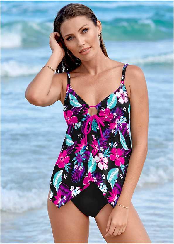 Sharkbite Hem Tankini Top,Mid Rise Hipster Classic Bikini Bottom,Adjustable Side Swim Short,Lattice Side Bikini Bottom,Off The Shoulder Cover-Up