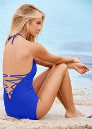 Back View Strappy Back One-Piece