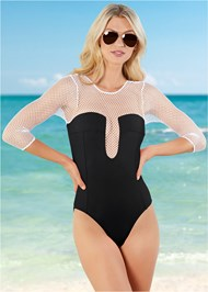 Front View Mesh Sleeved One-Piece