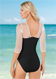 Back View Mesh Sleeved One-Piece