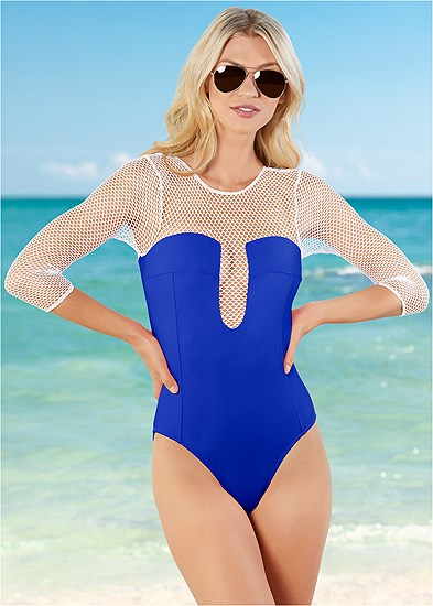 mesh sleeved one-piece