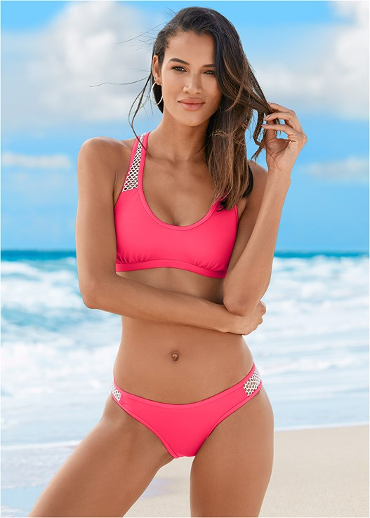 MESH SIDE LOW RISE BOTTOM,SPORTY BIKINI TOP
