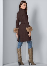 Back View Faux Fur Cuff Coat