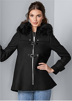 buckle detail coat