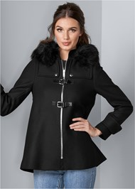 Front View Buckle Detail Coat