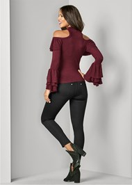 Back View Ruffle Detail Sweater