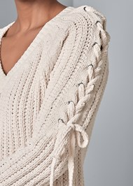 Alternate View Tie Sleeve Chenille Sweater