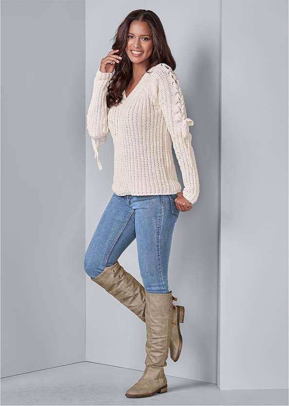 Alternate View Tie Sleeve Chenille Sweater